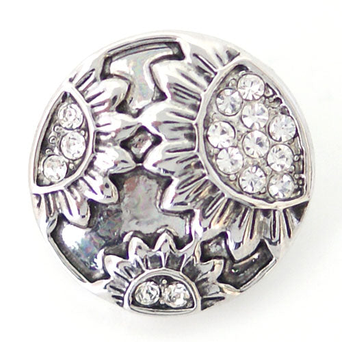Round silver plated snap with sunflowers and clear rhinestones
