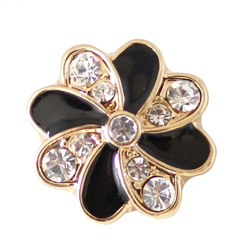 Flower shaped snap with black enamel and clear rhinestones (more color options available)