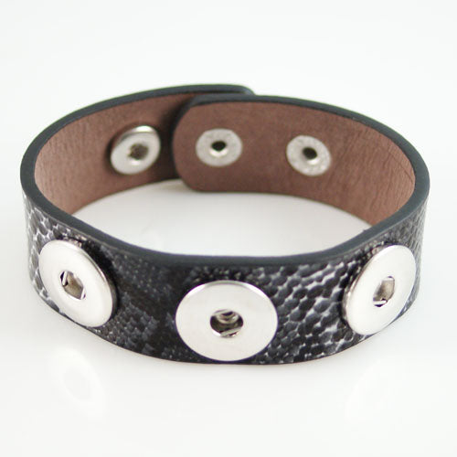 Snakeskin print leather bracelet
