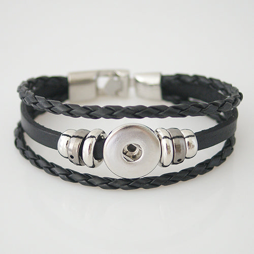 Leather braided bracelet with beads (more color options available)