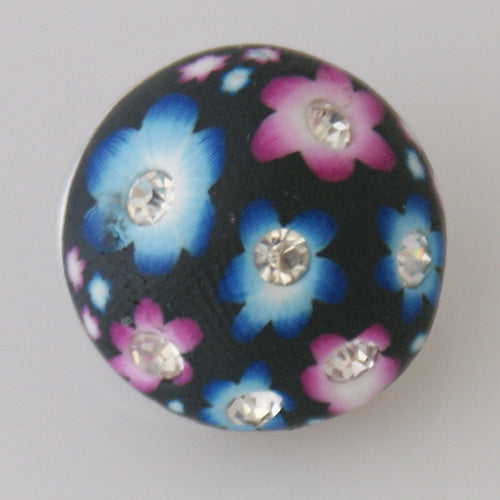 Round snap with pink and blue flower design with clear rhinestones