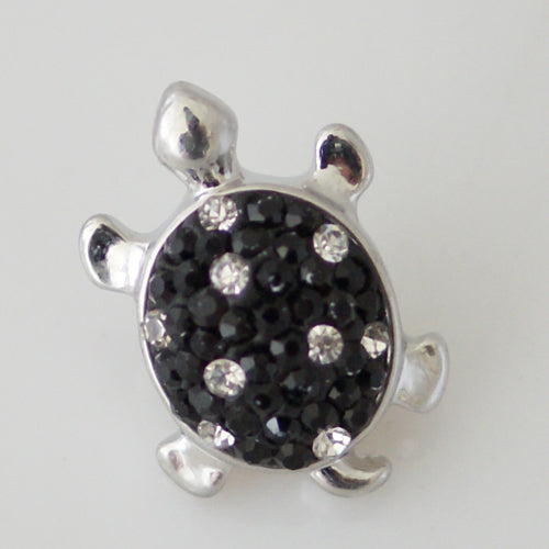 Turtle shaped snap with black and clear rhinestones