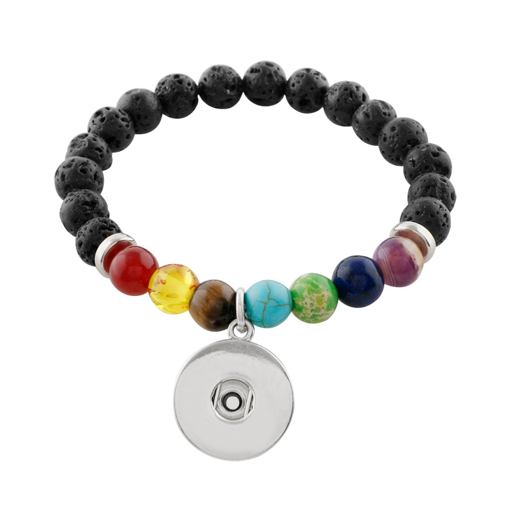 Lava beaded bracelet with chakra stones