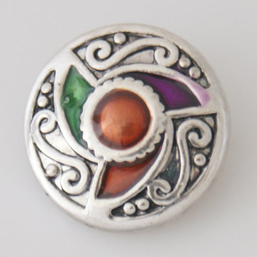 Round snap with multi-colored enamel