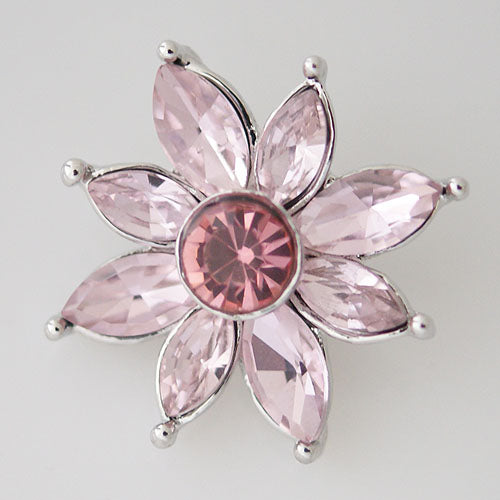 Large flower shaped snap with pink rhinestones