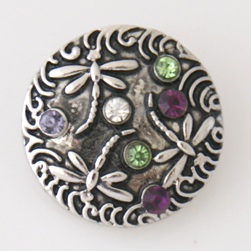Round snap with dragonflys and small multi-colored rhinestones