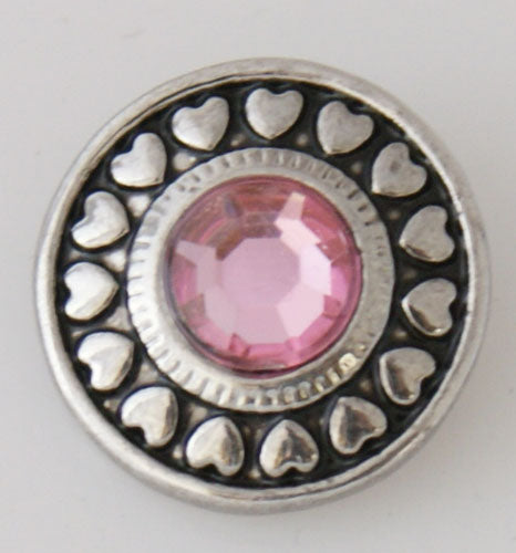 Round snap with silver plated heart design and pink rhinestone