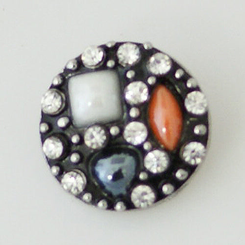 Round snap with multi-colored stones