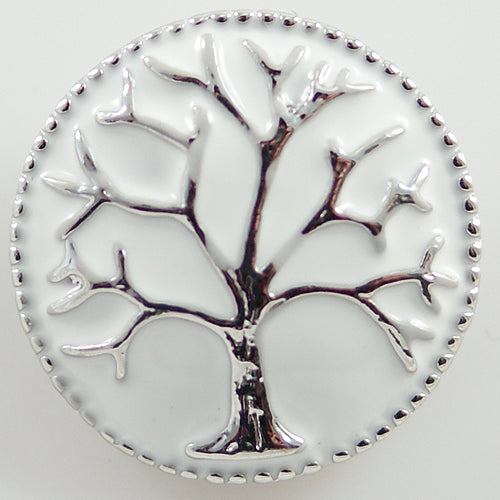 Round snap with tree on white enamel background
