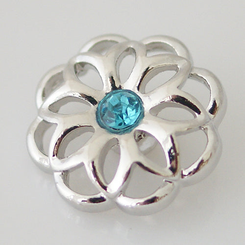 Silver plated snap with small rhinestone (more color options available)