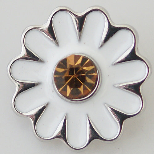 Flower shaped daisy snap with yellow rhinestone