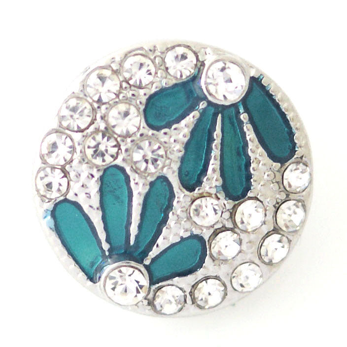 Teal flowers with clear rhinestones