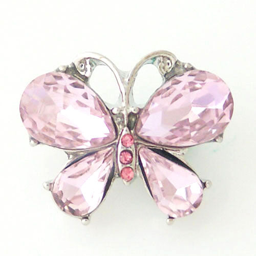 Butterfly shaped snap with pink rhinestones
