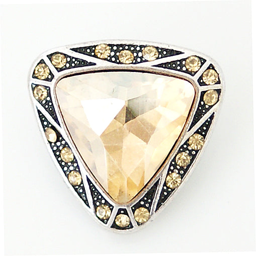 Triangle shaped snap with large yellow rhinestone
