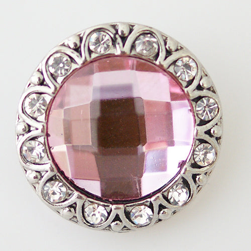 Round snap with large pink rhinestone