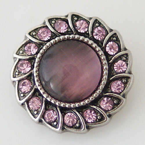 Flower shaped snap with large pink opal and pink rhinestones