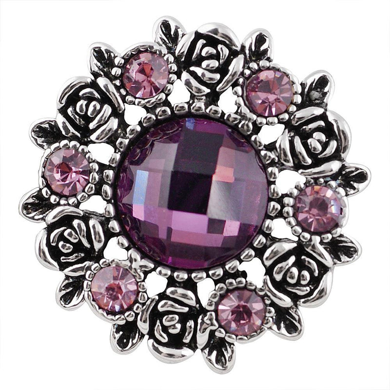 Large snap with flower design and purple rhinestones