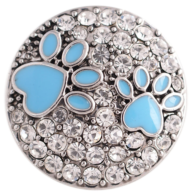 Paws with blue enamel and clear rhinestones