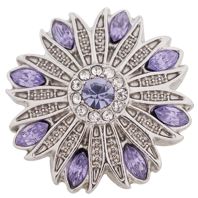 Flower shaped snap with purple rhinestones