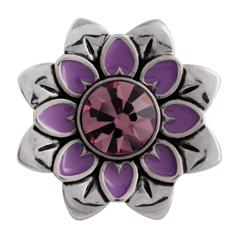 Flower with pink rhinestone and purple enamel
