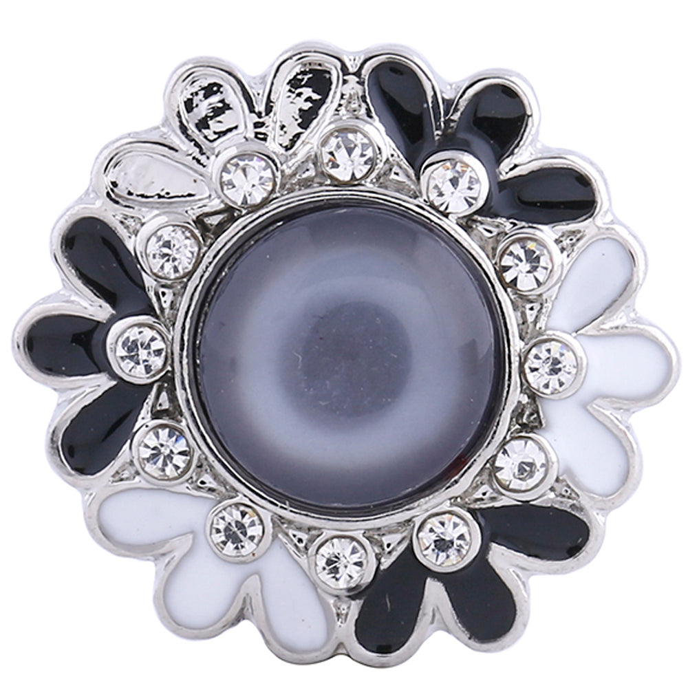 Pearl with black and white flower design