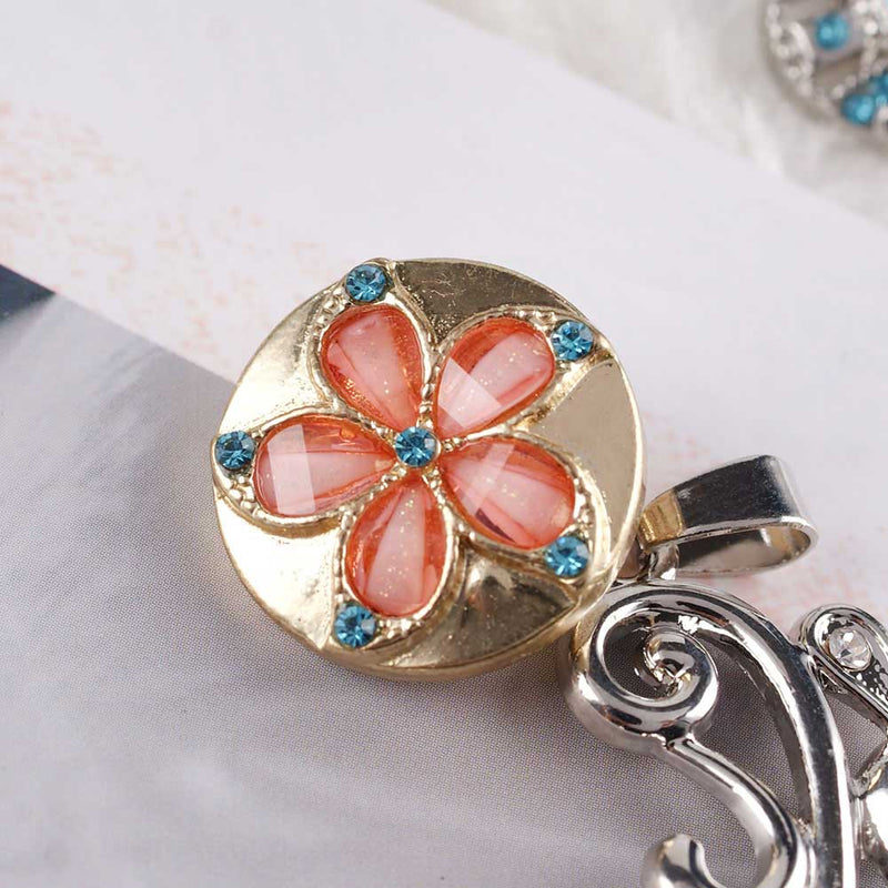 Flower snap with peach rhinestones