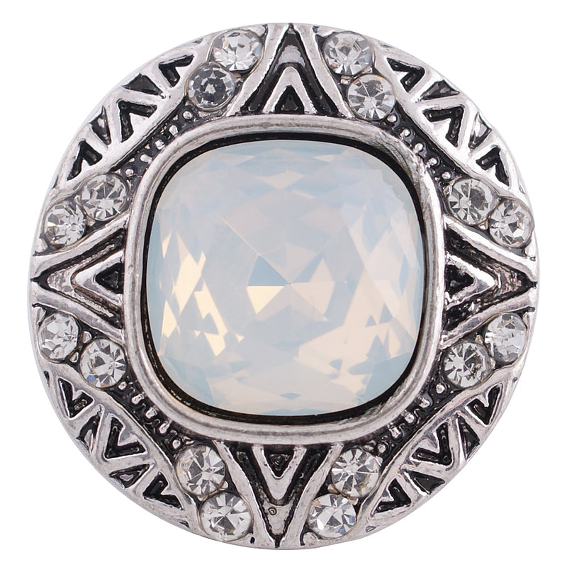 Antique snap with clear square rhinestone