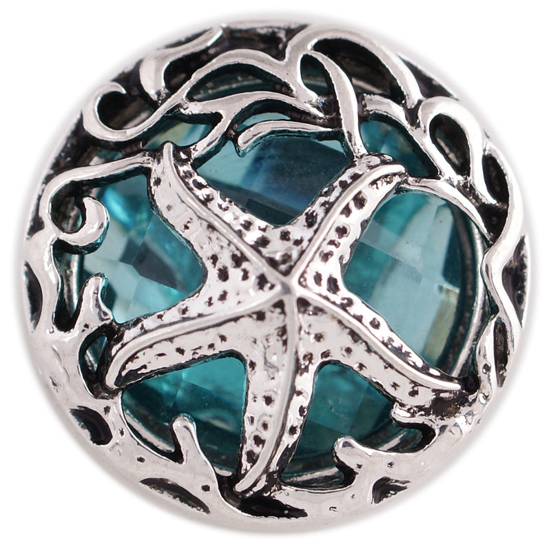 Silver starfish on blue rhinestone