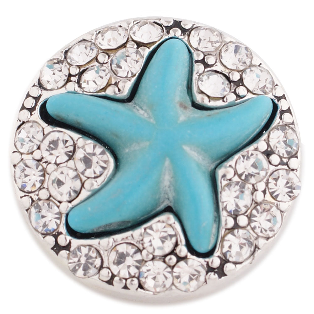 Blue starfish with clear rhinestones