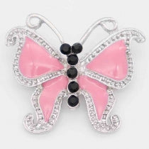 Butterfly snap with rhinestone and pink enamel