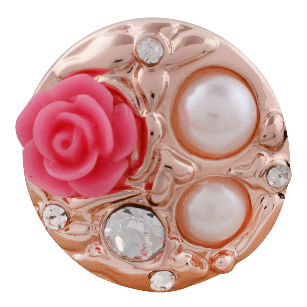 Pink flower with pearls and gold