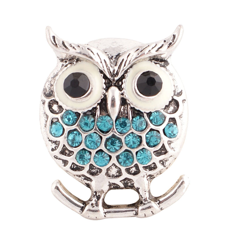Owl with blue rhinestones