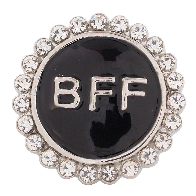 Round snap with BFF printed in black enamel circled with clear rhinestones