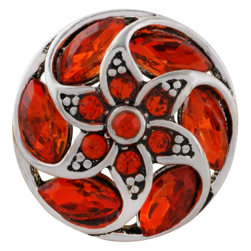 Round snap with orange rhinestones in a flower shape