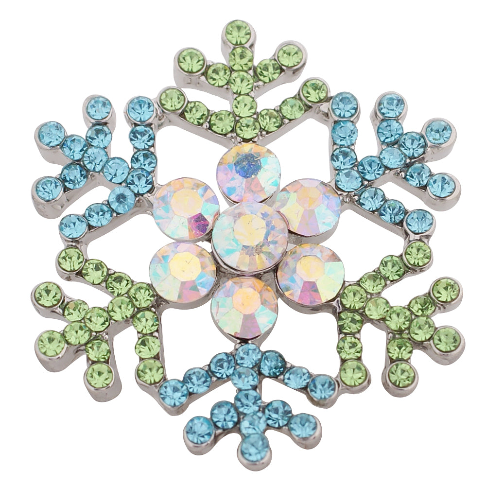 Large snowflake with blue and green rhinestones