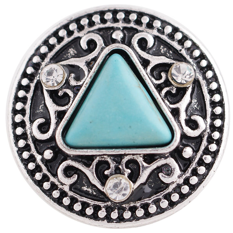 Turquoise diamond shaped gem with clear rhinestones