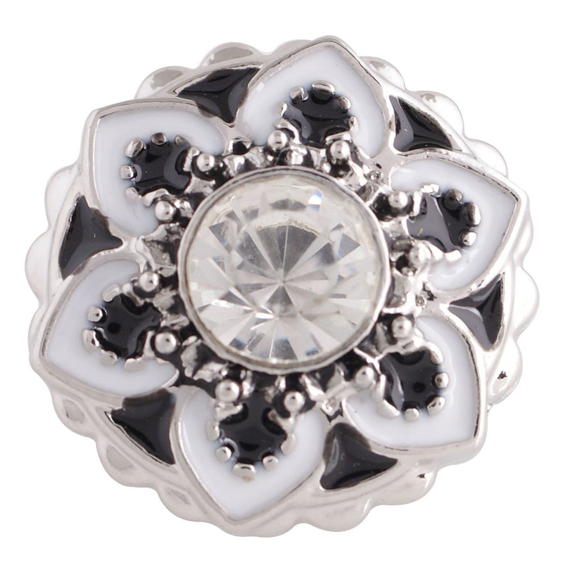 Flower shaped snap with black enamel
