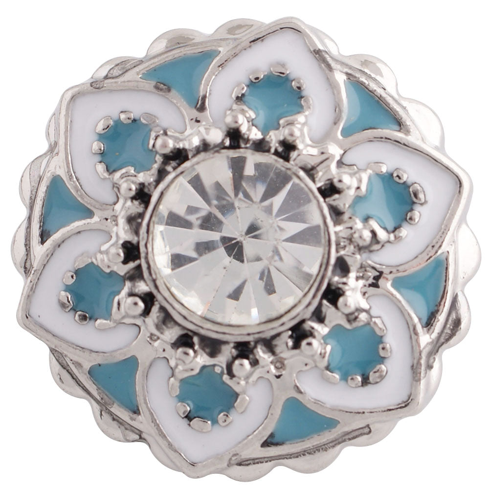 Flower gem with blue and white enamel