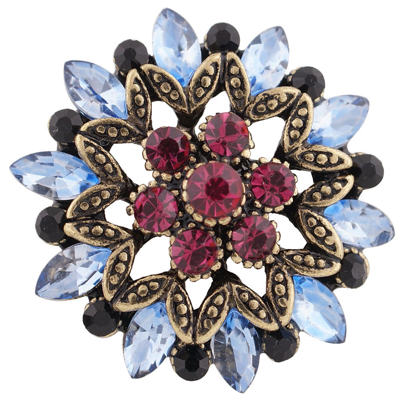 Gem with multi-colored rhinestones