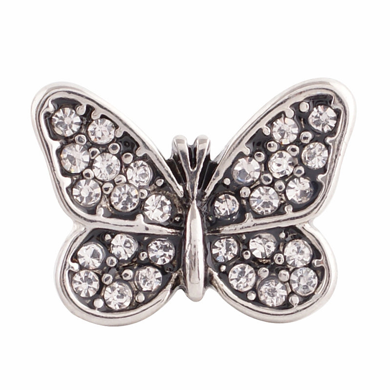Butterfly shaped snap with clear rhinestones