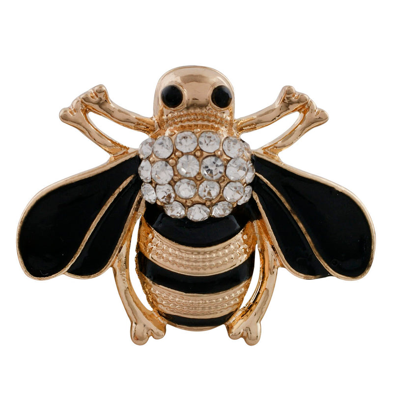 Bee gem with gold and black enamel