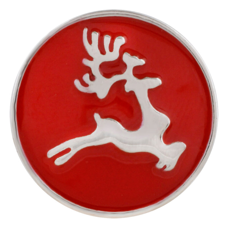 Reindeer on red enamel background
