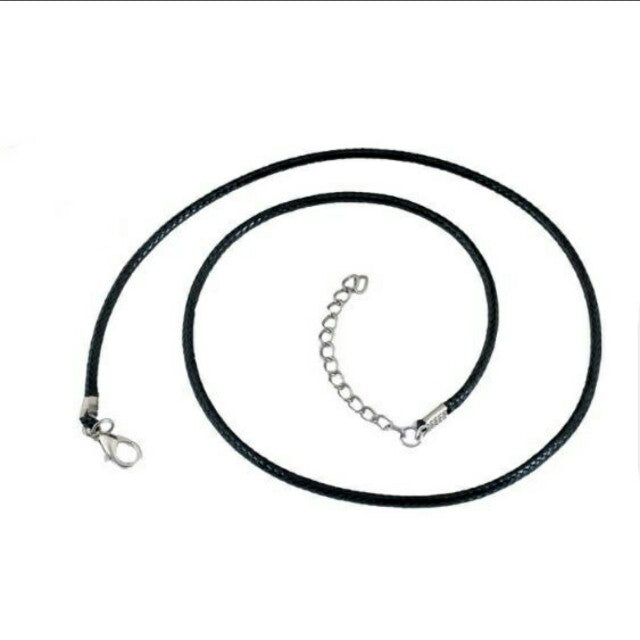 Thick black leather braided cord rope chain