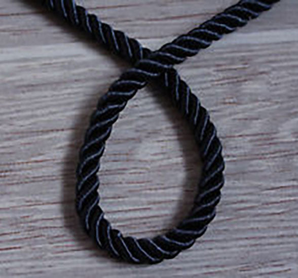 Twisted soutache black braided cord rope