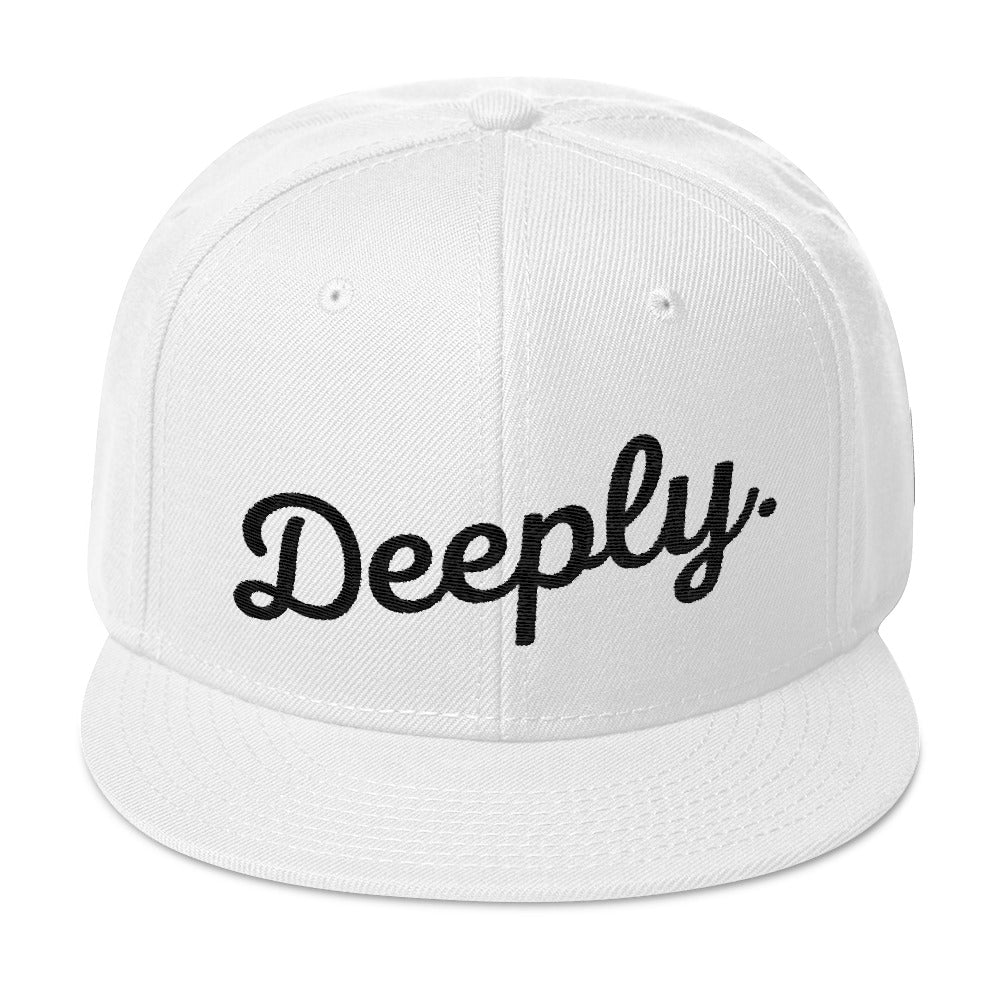 Deeply Snapback Hat in Black on White