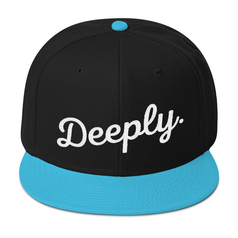 Deeply Snapback Hat in Black, Aqua & White