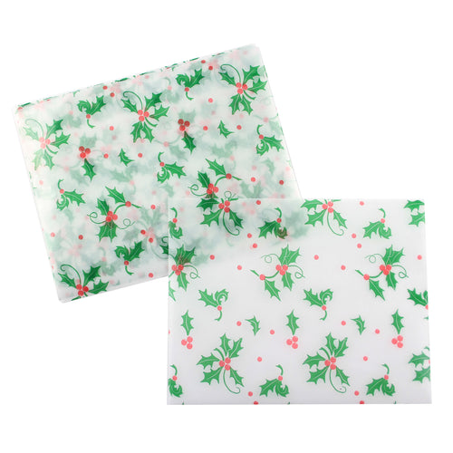 Holly and Berries Wax Paper Wrappers for Caramels