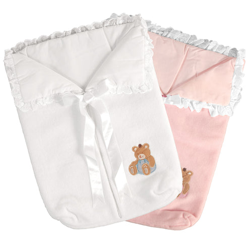 Doll Fleece Bunting Bag with Bear Pink or White 18