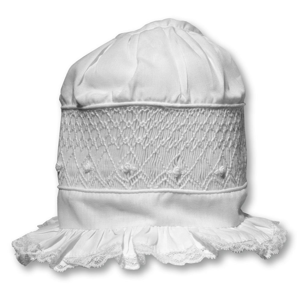 White Bonnet with White Geometric Smocking & Lace 1245 BB