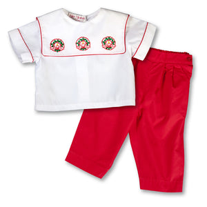 Christmas Wreath Shadow Embroidered Pant Set 1304 A
